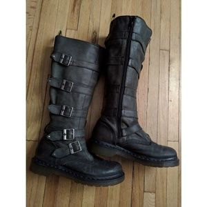 Rare Dr. Martens Phina tall leather buckle boots